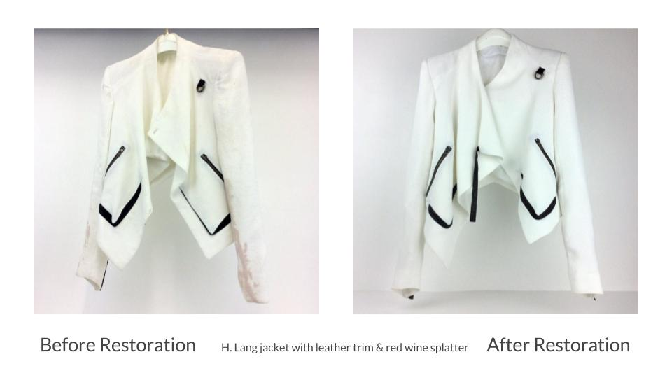 Helmut Lang white acetate/silk and black leather trim jacket with red wine splatter: Before and after restoration
