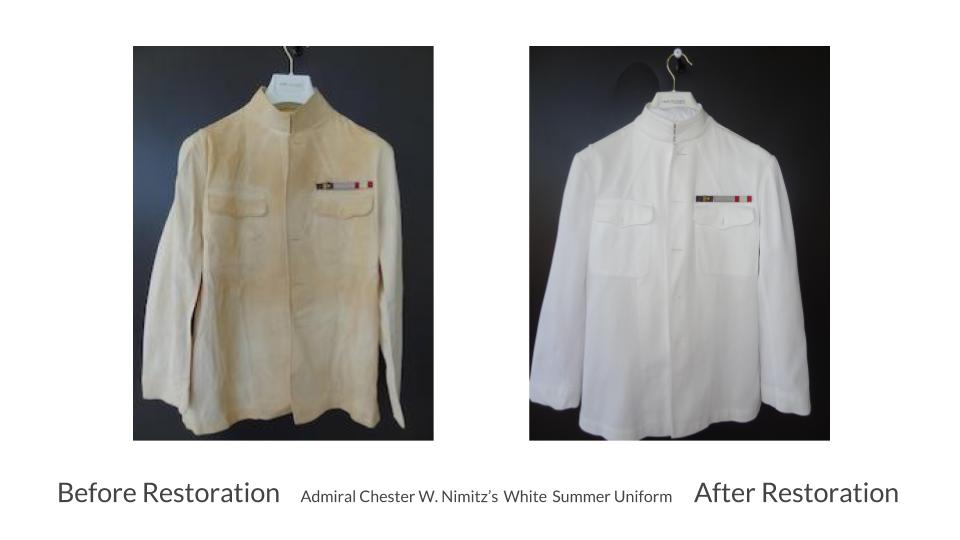 RAVE FabriCARE in Scottsdale, Arizona cleans and restores military memorabilia: Admiral Chester W Nimitz's white summer uniform